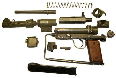 Carl Gustav M/45 o Swedish-K SMG despiezado