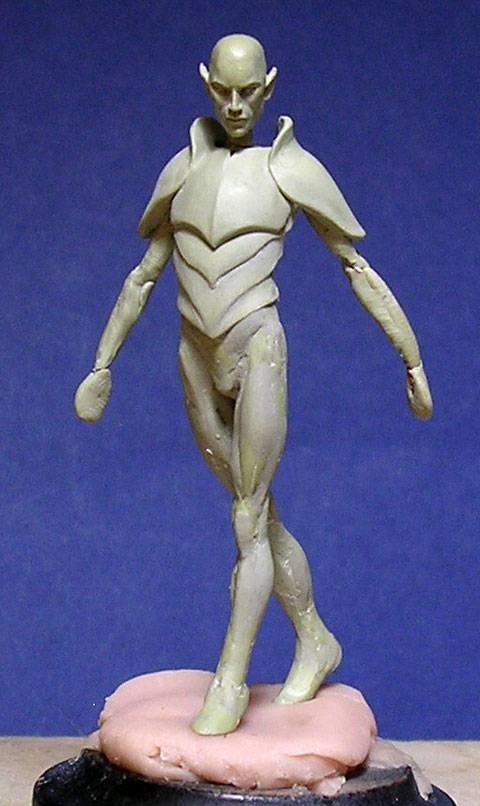 Figura de un Elfo modelado con masillas Milliput y Duro - Paso 3