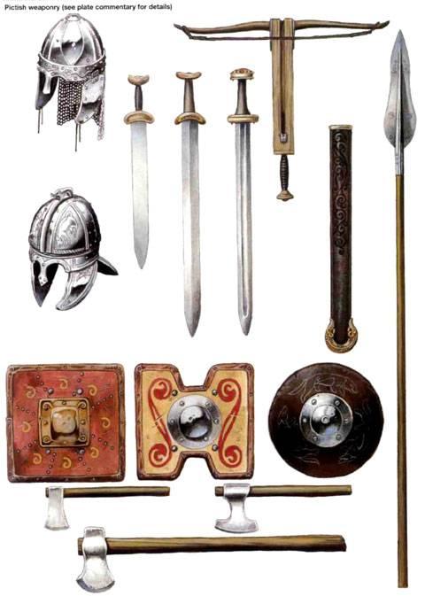 Armamento ofensivo y defensivo utilizado por los Pictos