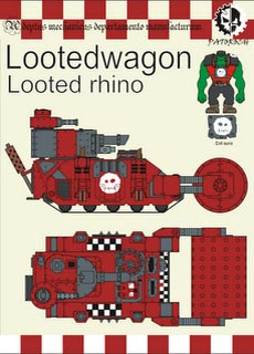 Looted Wagon - Looted Rhino - Recortable  Warhammer 40.000 - Escala 28mm.