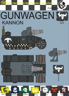 Horda de Gunwagons Orkos - Recortable  Warhammer 40.000 - Escala 28mm.
