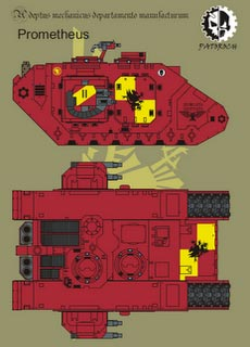 Land Raider Prometheus - Recortable  Warhammer 40.000 - Escala 28mm.
